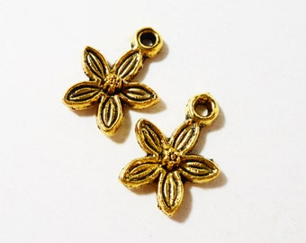Gold Flower Charms 13x10mm Antique Gold Lily Charms, Small Flower Pendants, Metal Charms for Jewelry Making, Craft Supplies, 10pcs