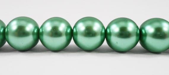 "Crystal Pearl Beads 10mm Round Glass Pearl Beads, Erinite Green Pearl Beads, Faux Pearl Beads on a 7 1/2"" Strand with 20 Beads"