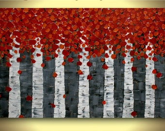 Original   Birch Trees Painting Landscape  Impasto Textured  Palette Knife  Painting. MADE2ORDER