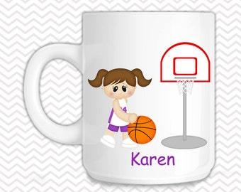 Basketball Girls Kids Mug - Personalized Basketball Mug - Customized Mug - Melamine Cup - Personalized Kids cup