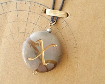 SALE Picasso jasper stone pendant with sandblasted initial X