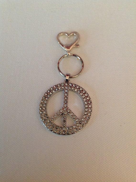PEACE Keychain, Rhinestone Keychain, Car Accessories, PEACE, Purse Accessory