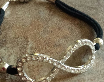 Rhinestone Bracelet - Infinity Bracelet - Black Bracelet - Bling Bracelet - Black Suede Bracelet - Magnetic Clasp Bracelet - Suede Bracelet