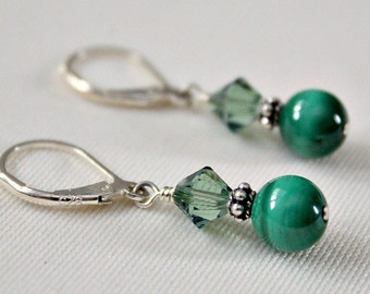 Malachite Earrings,Swarovski Crystal,Sterling Silver Earrings,St Patricks Day Earring,40th Birthday Gift for Woman,Chakra,Green Stone,Unique