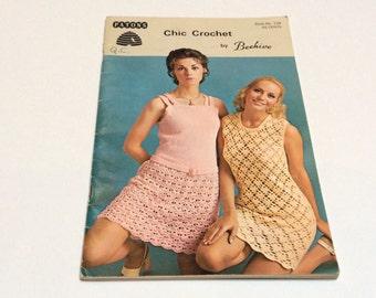 Vintage Crochet Dress Pattern Book, Beehive Chic Crochet Book, Very Mod, 1960s