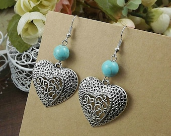 Ethnic Tribal Hmong Miao Silver Turquoise Filigree Flower Drop Dangle Earrings