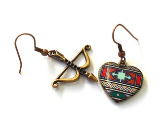 Bow and Arrow Tribal Heart Earrings