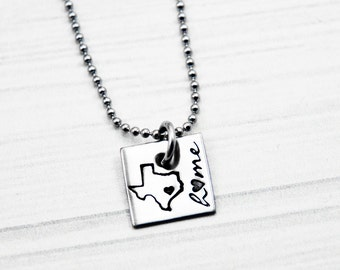 State Love - Hand Stamped Stainless Steel Necklace - Small Square - State Jewelry - Hometown Heart - Hand Stamped Jewelry