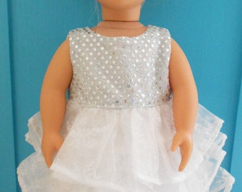 White Snowflake Holiday Christmas Dress for American Girl and 18 inch Dolls