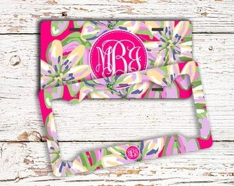 Floral front license plate, Monogram license plate frame, Pink and green flowers, Pretty car accessory for women, Personalized gifts (1698)