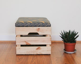 Upcycled Apple Crate Ottoman Foot stool / seat / storage box with hand screen charcoal / gold parquet leaf pattern fabric