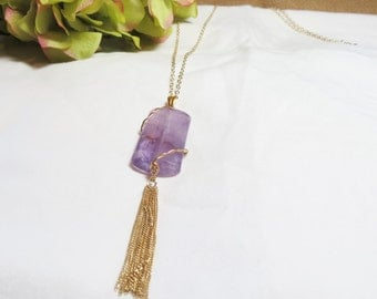 Purple Amethyst Necklace with Gold Tassel