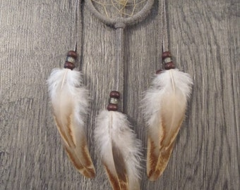 Dream Catcher Grey Suede with Rooster Wing Feathers ~ Cruelty Free