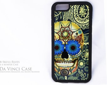 Blue Sugar Skull iPhone 6 6s Case - Day of the Dead iPhone 6s BUMPER Case - Paisley Skull Case for Apple iPhone 6 6s