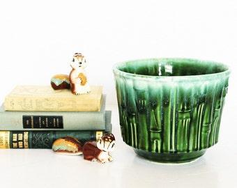 McCoy Bamboo Planter Pot Pottery, Green & White Drip Glazed Rim / Elegant Mid Century Traditional Regency / Spring Garden to Table Decor