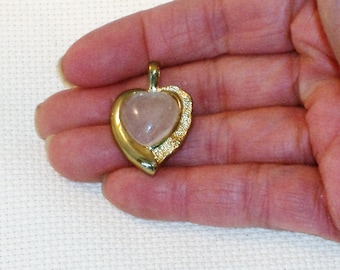 Lovely Goldtone Heart Pendant with Acrylic Opal Heart Center Stone Costume Jewelry