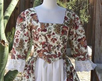 Colonial Era Split Front Dress Cotton Floral 18th Century Gown