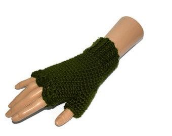 Deep Forest Green Fingerless Gloves, Ladies Green Gloves, Womens Green Handwarmers, Gifts for Teens, Vegan Friendly Gloves