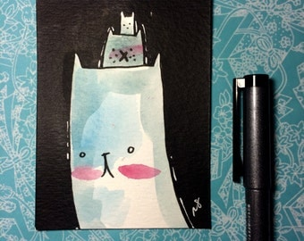 """Watercolor and ink Painting """"Three Cats"""" 3x4 inches decoration."""