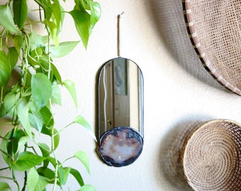 NEW // Raw Agate Slice Wall Hanging Mirror - natural stone set in handcut mirror