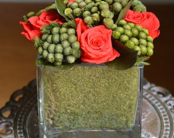 Preserved Roses, Preserved Flower Bouquet, Contemporary Decor, Dried Flower Arrangement