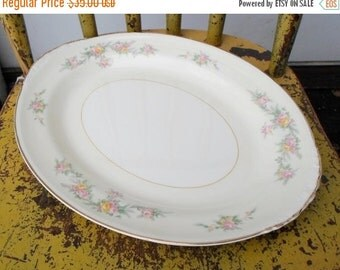 """ON SALE Vintage 1940s Homer Laughlin """"Countess"""" Pattern Eggshell Nautilus 11 3/4"""" Serving Platter Cottage Chic Shabby Chic"""