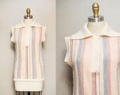 Vintage 70s Lambswool Striped Sweater / Short Kimono Sleeves / Popover Style / Medium