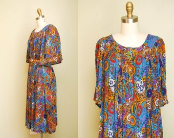 Vintage Indian Trapeze Dress | Free Size | 70s Gauzey Boho Sundress | Colorful Abstract Floral Art Print