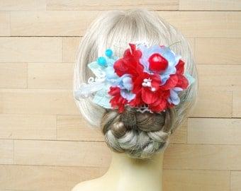 Red Aqua Blue Bridal Hair Comb, Red Blue Weddings Accessories, Bridesmaids Head Piece, Red Blue Bridal Hair Flowers, Nautical Beach Wedding