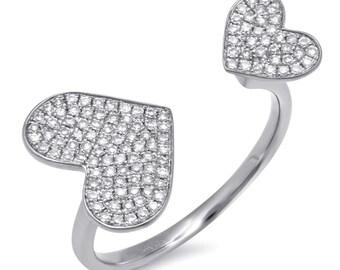 14k White Gold 0.33ct Diamonds Open Heart Ring