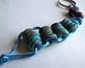 Stress Relief Keychain- Handmade Polymer Clay Beads: Aqua Blue, Black, and Grey, Blue Silky Cord
