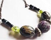 "20"" inch Necklace: Purple Wood Bead, Black Wood Beads, Green Lampwork Beads, Metal Beads, Copper Chain w/ Lobster Claw Clasp"