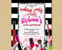 Makeup Invitation, Makeup Party Invitation, Make up invitation, Makeup Bridal Shower, Makeup Birthday, Spa Party, Girls Invitation, Makeup