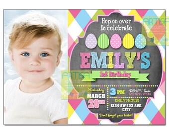 Easter Birthday Invitation, Egg Hunt Birthday Invitation, Easter Birthday egg hunt, easter invitation, easter 1st birthday, egg hunt invite