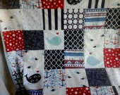 Nautical Baby Quilt in Red and Blues, Whale Applique Nautical  Nursery Bedding, Sailing Quilt, Baby Boy Nautical Quilt