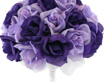 Purple and Lavender Silk Rose Hand Tie (36 Roses) - Silk Bridal Wedding Bouquet