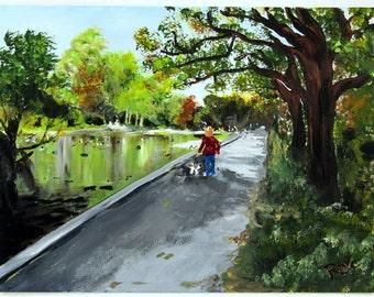 Stroll In The Park - Original Irish Acrylic Landscape Painting by Artist ROXY C aka Corina Hogan - OOAK