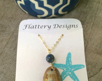 Hawaiian Cowrie Shell and Lapis Lazuli Necklace