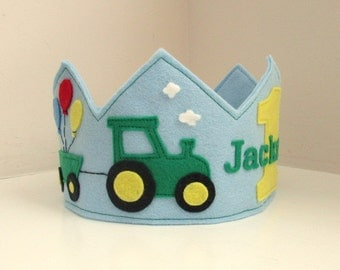 Tractor Crown, Farm Crown, Felt Crown, Birthday Crown, Personalized, First Birthday, Boy