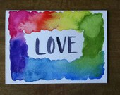 Hand Painted Watercolor Greeting Card, one-of-a-kind, Love, Rainbow