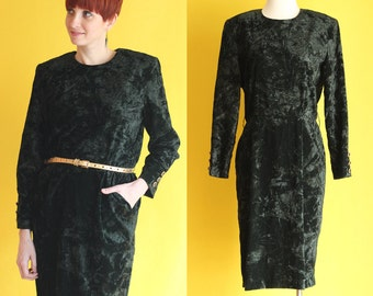 Vintage 80s Green Velvet Dress - Crushed Velvet Holiday Dress - Long Sleeve Dress - Pleated Knee Length Dress with Pockets - Size Large