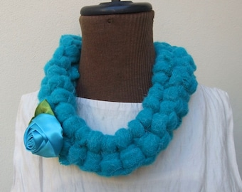 Unique Teal Neck Collar/Neck piece/Neck wrap/Neck scarf. Created with knitted strips of soft fleece fabric and a blue flower. A Perfect Gift