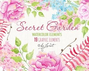 Secret Garden Collection - Floral Watercolor Elements - PNG file