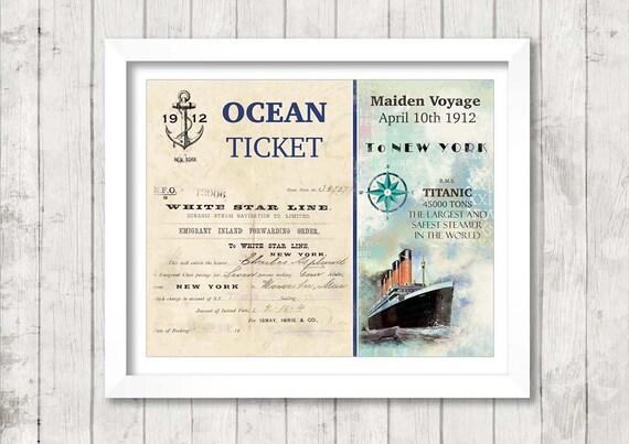 Titanic - Ocean Ticket - Vintage Art Print Poster - 8 x 10 inch