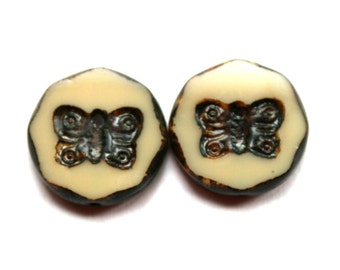 18 mm Authenic Picasso Ivory Butterfly Czech Beads