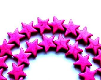 Full Strand of Pink Magnesite/Turquoise Stars