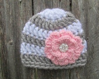 Infant Girl Hat, Newborn Baby Girl Hat, Newborn Photo Prop, Baby Girl Clothes, Crochet Flower Hat, Coming Home Outfit, Pink and Grey Hat