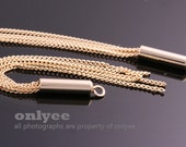 2pcs-75mmX3.5mm Gold plated over Brass chain tassel charms, dangles for earrings, necklace pendants(K2934G)