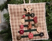 Quilted Folk Art Button Tree Ornament