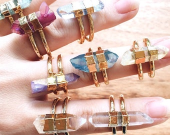 Hokupa'a ring -  gold quartz cuff ring, gold ring, cuff ring, gold cuff ring, quartz ring, mineral ring, hawaii jewelry, druzy jewelry, boho